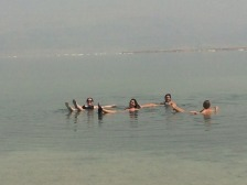 Floating on the Dead Sea! From left to right: me, Sharon, Yael, and Rebecca