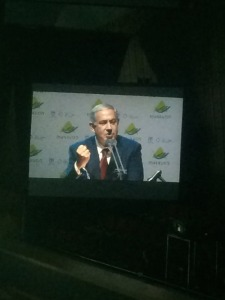 Bibi giving his speech. Look at him with that empowering fist