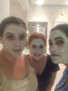 L to R, if you can't recognize these faces that are covered in the masks: me, Natalie, and Deborah