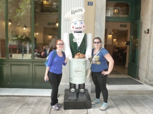 Posing with the restaurant's mascot. Aren't we cute when we match?