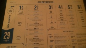 Example of the menu at Mex&Co