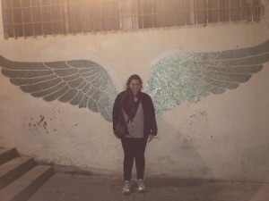 Random wings painted in the Jaffa Port! Had to stop for a photo op!