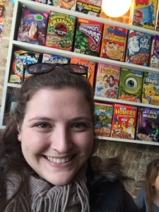 Behind me are some vintage and limited edition cereals. Not sure if they ever open these, or if they're just for display. They're probably pretty old, but very cool!