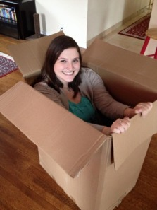 I hid in an actual box. It was quite uncomfortable, but hilarious. Her screams were everything I could have hoped for.