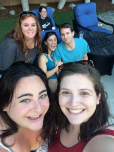 Top row: Hava (Shoshana's sister); middle row: Jordyn, Shoshana, and Allen; bottom row: Hallie and me. Aren't I good at taking group selfies?