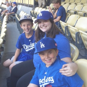 With my cousins, Ethan and Andrew! I clearly got all decked out in Dodger gear