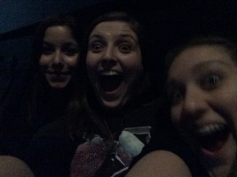 Chelsea on the left, Mel on the right, and a huge dork right in the middle
